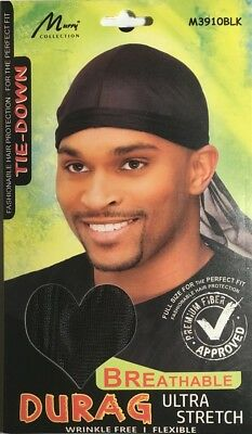 Murry Tie Down Durag Breathable / Adjustable / Ultra Strech Black 3910BLK