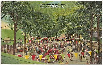 Busy Scene on the Midway at Conneaut Lake Park PA Postcard