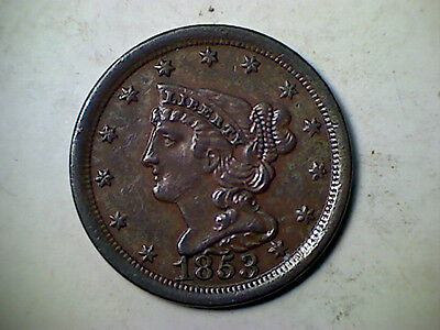 1853 1/2C Braided  hair half cent , Almost uncirculated
