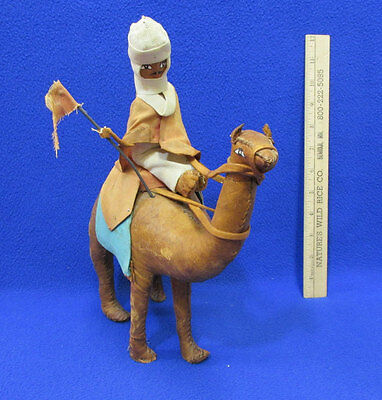 Vintage Hand Made & Stitched Leather Camel With Rider Figure Collectible
