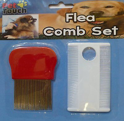 PET TOUCH  Dog and Cat Flea Hair Comb set with magnifier (HT2998)
