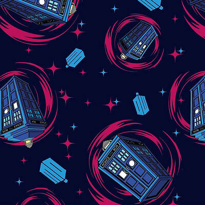 Dr Who Tardis Police Boxes Stars TV Series Licensed Quilt Fabric FQ *New*
