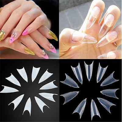500PCS Charm Clear Natural White Nail Tips UV Gel False Point Stiletto French TR
