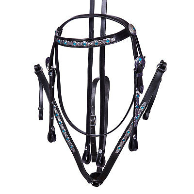 Western Show Leather Bridle and Breastplate Set Blue Aqua Crystal Cob Full