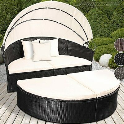 Poly Rattan Daybed Garden Furniture Outdoor Patio Sofa Sun Bed Lounger Ø180cm