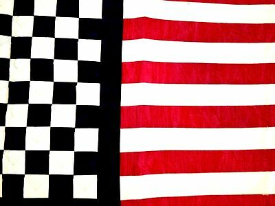 Unique Handcrafted Rectangle Table Runner! Flag Red, White, Blue Design.