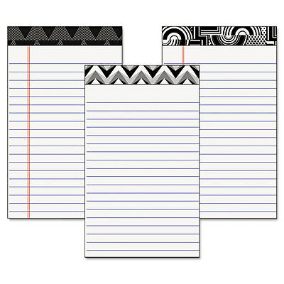 TOPS Fashion Legal Pads W/Assorted Headtapes, 5 X 8, 50 Sheets, 6 Pads/pack