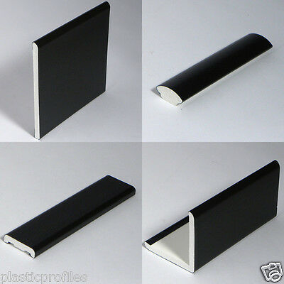 BLACK ASH PLASTIC WINDOW TRIMS UPVC ANGLES BEADING VARIOUS SHAPES 5m - 2 X 2.5m