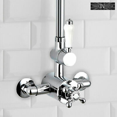 Wall Mounted Shower Mixer Valve Chrome Traditional Victorian Style Solid Brass