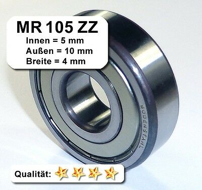 10 Stk. Kugellager 5*10*4mm Da=10mm Di=5mm Breite=4mm MR105ZZ Radiallager