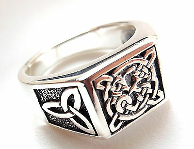 Three-Sided Two-Design Celtic Ring 925 Sterling Silver 7 Solid Chunky Grams