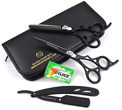 "Professional Barber Hairdressing Scissor Thinning Hair Cutting 6"" Set with Razor"