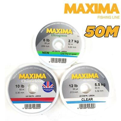 MAXIMA LEADER FISHING LINE 50m SPOOL 2LB-15LB CLEAR, ULTRAGREEN OR CHAMELEON