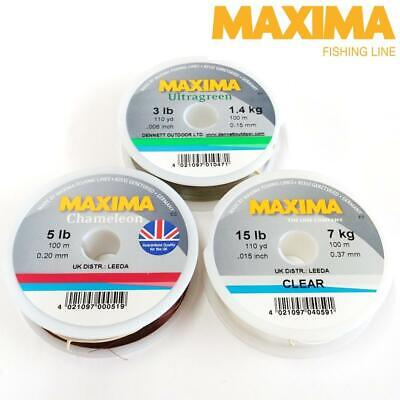 MAXIMA LEADER FISHING LINE 100m SPOOL 3LB-20LB CLEAR, ULTRAGREEN OR CHAMELEON