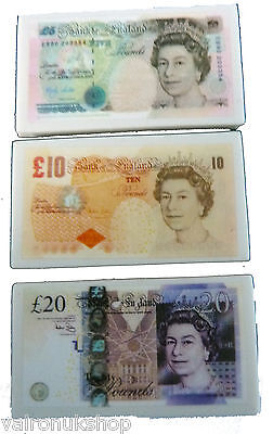 British Banknote Money Funny Novelty Rubbers Stationary School SET OF 4