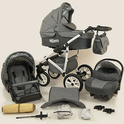 LIMITED SALE - Baby Pram Stroller Car seat - Pushchair 3in1 Buggy swivel wheels
