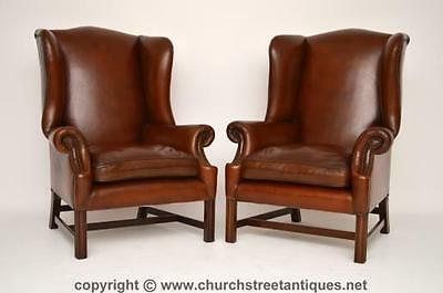 Large Pair Of Antique Chippendale Style Leather Wing Armchairs
