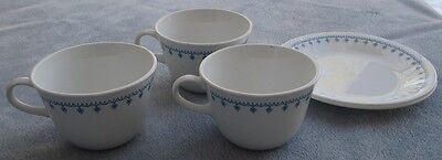 5 Pcs Vintage Corelle Snowflake Garland Dishes 3 Cups / Mugs, 2 Bread Plates