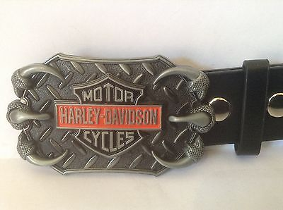 "Harley Davidson Buckle & Belt (All Sizes 30"" – 50"") Coloured Checkerplate Design"