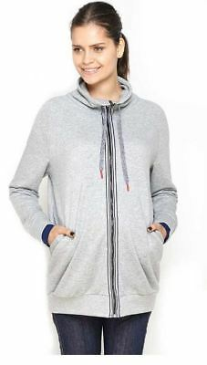 New Imanimo Maternity Gray Zip Up Sweatshirt Active Jacket L (US 8/10 ;UK 12/14)
