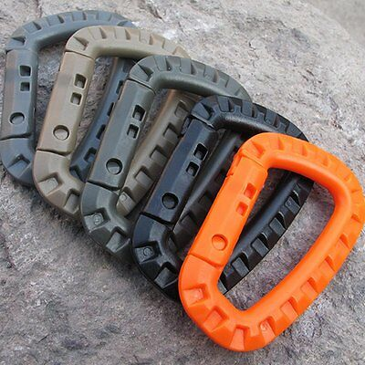 Molle Tactical Hiking Clip Carabiner Locking D-Ring Key Chain Hook Safety Buckle