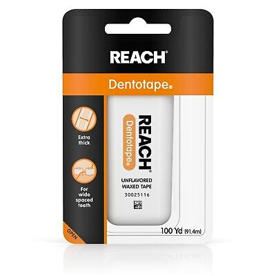 Reach Dentotape Waxed Dental Floss, Unflavored 100 Yards (3 Pack)