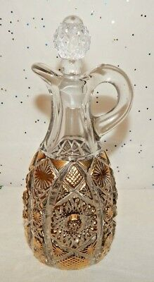 VINTAGE CRUET w/STOPPER~IMPERIAL GLASS~PRESSED~DAISY & BUTTONS~GOLD ACCENTS