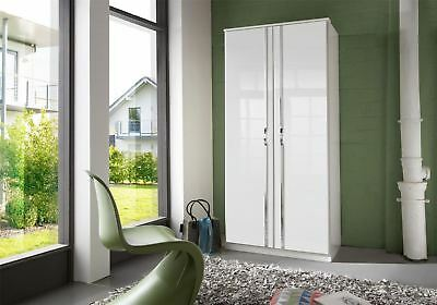 German Trio White Gloss & Chrome 2 Door Wardrobe 90cm 3FT