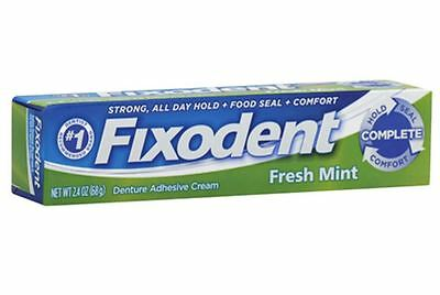 Fixodent Denture Adhesive Cream, Fresh Mint 2.40 oz (Pack of 3)