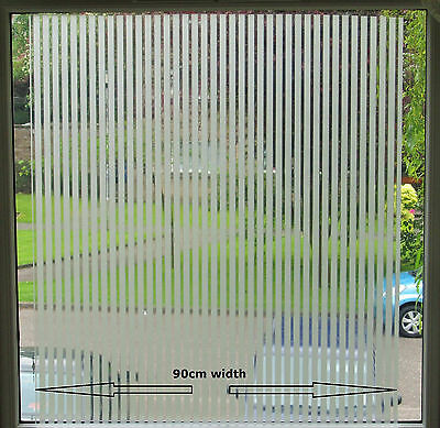 Frosted Decorative Window Blinds Static Stained Glass Striped Effect Vinyl Film