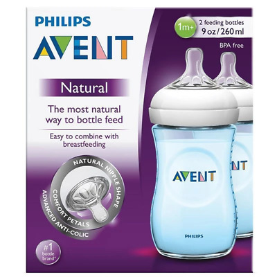 Avent - Natural Blue Feeding Bottle - 260ml/9oz - 1m+ Teats - 2 Pack - Brand New