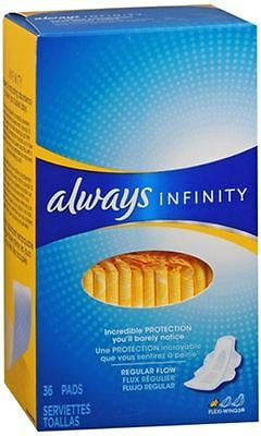 Always Infinity Maxi Pads Flexi-Wings Regular Flow 36 Each (Pack of 6)