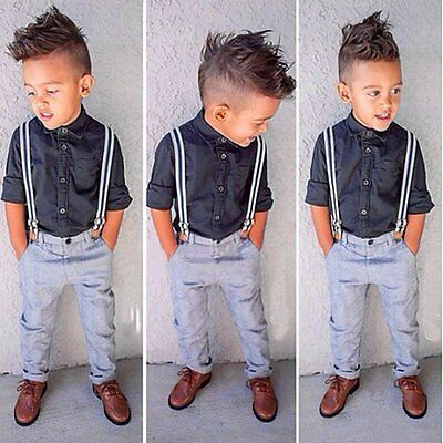 Kids Baby Boys Long Sleeve Shirt T-shirt Tops+Strap Pants Clothes Outfit Set