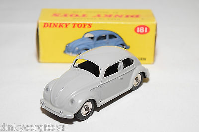 P Dinky Toys 181 Vw Volkswagen Beetle Kafer Grey Spun Mint Boxed Rare Selten
