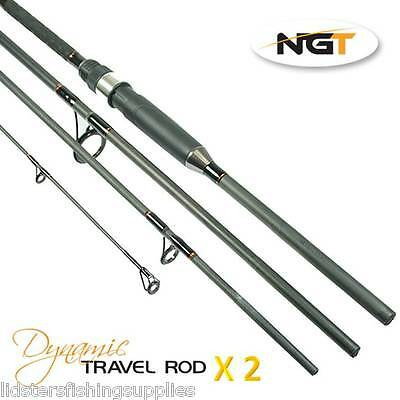 2 x NGT Dynamic Travel 9ft 4pc Carbon All Round Rods Carp Sea Spinning 20-50g