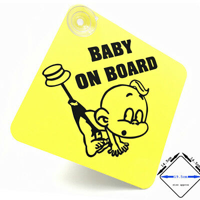 BABY ON BOARD sign - cute pinned baby - with suction cups