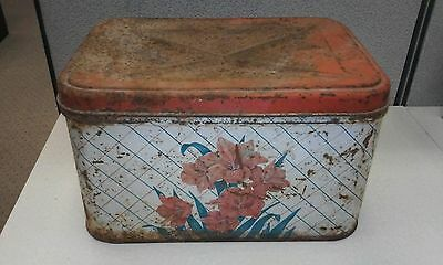 Vintage Metal Tin Bread Box Kitchen Antique With A Lot Of Patina.