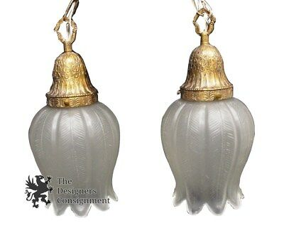 2 Vtg Spanish Brass Hanging Light Tulip Shaped Frosted Glass Shade Chandeleir
