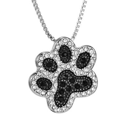 Footprint Silver Dog Paw Crystal Rhinestone Pendant Jewelry Necklace Box Chain