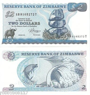 ZIMBABWE $2 Dollars Banknotes Africa World Money BILL UNC Currency Note p1b 1993