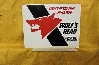 Vintage 1970's Wolf's Head Motor Oil & Lubes 2 Sided Sign Man Cave