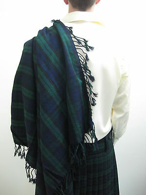 "Black Watch Scottish Tartan Fly Plaid for Kilts / Piper 48"" X 48"""