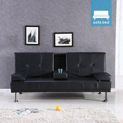 Design Luxury Style Fold Down Sofa Bed Black Faux Leather With Drink Holders