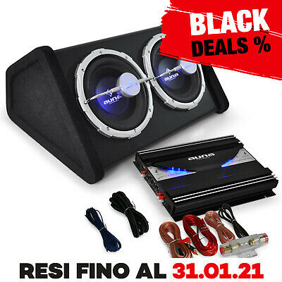 Kit Audio Auto 2800W Amplificatore Finale 2 Canali Cassa Subwoofer 25Cm Cavi Car