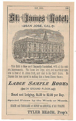 1880s Full Page Advertisement for the St James Hotel San Jose CA