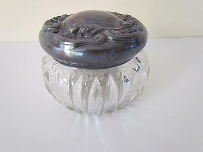 Heisey Cut Glass Nouveau Repousse Silverplate Lid Vanity Powder Trinket Jar Gift