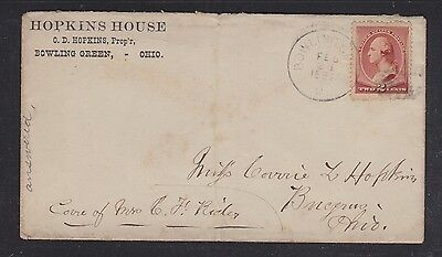 Usa 1887 Hopkins House Hotel Cover & Letter Bowling Green Ohio