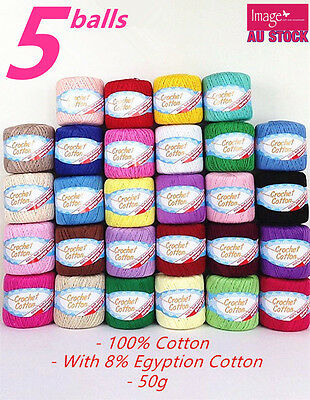5pcs 100% Super Soft Crochet Cotton Ball 50g 3Ply Wool Yarn 38 Colour Available