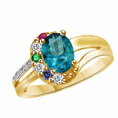 Mothers Bliss Family Stone Ring 10K Yellow Gold Over Sterling Silver 7 Stones