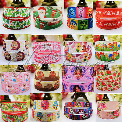 Wholesale! 1/5/10yds 7/8'' (22mm) Grosgrain Ribbon  Single Face Hair Bow DIY